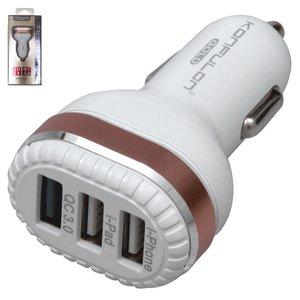 Автомобильное зарядное устройство Konfulon C28A для мобильных телефонов Apple; планшетов Apple, USB выход 5В 3А 9В 2А 12В 1,5А, 2 USB выхода 5В 3А , золотистое, белое, Quick Charge