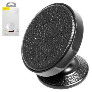Car Holder Baseus, (black, magnetic, adhesive base, with PU Leather insert) #SUER-F01