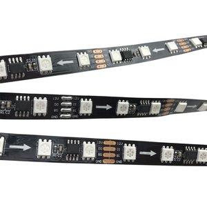 Світлодіодна стрічка RGB SMD5050, WS2818 (чорна, з управлінням, IP20, 12 В, 60 діодів/м, 1 м)