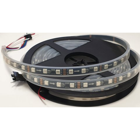 Світлодіодна стрічка RGB SMD5050, WS2818 чорна, з управлінням, IP65, 12 В, 60 діодів м, 5 м